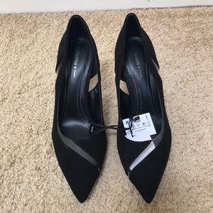 Bershka size 7.5, black faux suede stiletto heels.